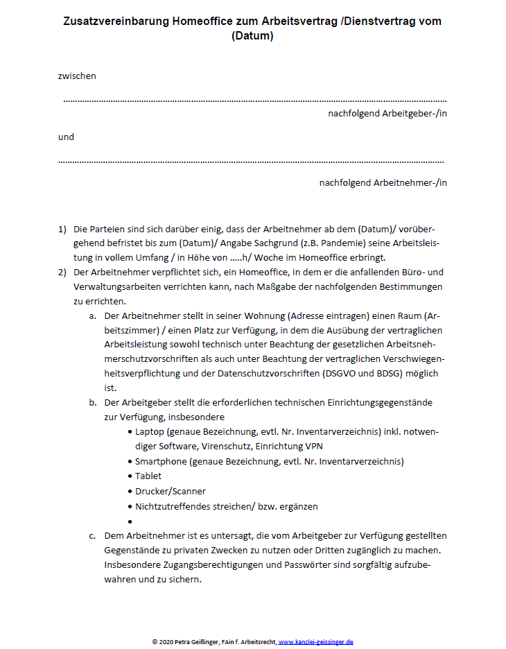 Homeoffice-Vereinbarung