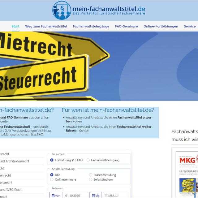 Neue Suchfunktion auf mein-fachanwaltstitel.de – den passenden Seminaranbieter jetzt noch schneller finden